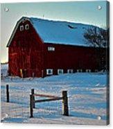 Red Barn In Winter ... Acrylic Print