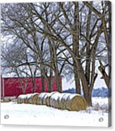 Red Barn In Winter With Hay Bales Acrylic Print