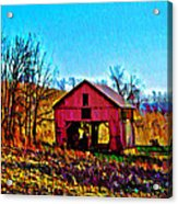 Red Barn On A Hillside Acrylic Print