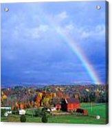 Red Barn Rainbow Acrylic Print