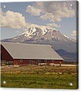 Red Barn Under Mount Shasta Acrylic Print