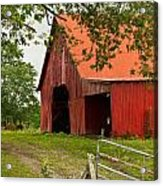 Red Barn With Orange Roof 1 Acrylic Print
