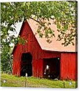 Red Barn With Pink Roof Acrylic Print
