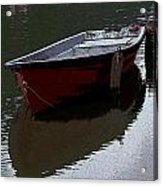Red Boat In A Canal In The Netherlands Acrylic Print