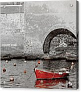 Red Boat In The Harbor At Vernazza Acrylic Print