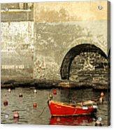 Red Boat In Vernazza Harbor On The Cinque Terre Acrylic Print