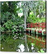 Red Bridge Over The Magnolia Swamp Land Acrylic Print