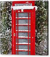 Red British Phonebox In The Snow Acrylic Print