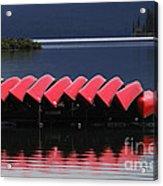 Red Canoes Maligne Lake Acrylic Print