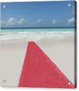 Red Carpet On A Beach Acrylic Print