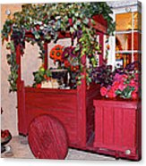 Red Cart Of Flowers Acrylic Print