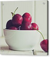 Red Cherries In White Bowl Acrylic Print