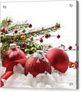 Red Christmas Balls In The Snow  Acrylic Print