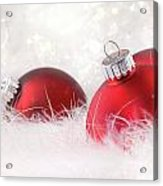 Red Christmas Balls In White Feathers  Acrylic Print