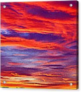 Red Clouds Dawn With Mount Rainier Acrylic Print