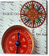 Red Compass And Rose Compass Acrylic Print