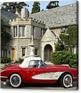 Red Corvette Outside The Playboy Mansion Acrylic Print