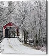 Red Covered Bridge In The Winter Acrylic Print