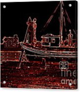 Red Electric Neon Boat On Sc Wharf Acrylic Print