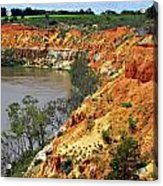 Red Eroded Soil Acrylic Print
