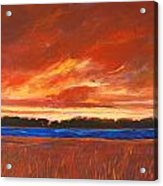 Red Field And Red Sky  Acrylic Print