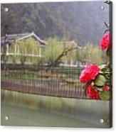 Red Flower Over Bridge Acrylic Print