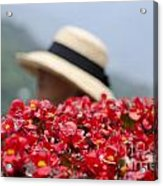 Red Flowers And Straw Hat Acrylic Print