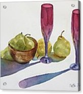 Red Flutes And Pears Acrylic Print by Bobbi Price