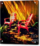Red Garden Chairs Acrylic Print
