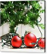 Red Glass Balls With Lights  Acrylic Print by Sandra Cunningham
