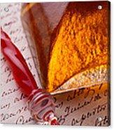 Red Glass Pen  Acrylic Print