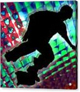 Red Green And Blue Abstract Boxes Skateboarder Acrylic Print