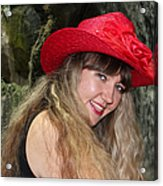 Red Hat And A Blonde Acrylic Print