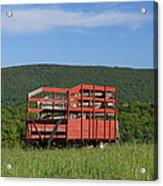 Red Hay Wagon In Green Mountain Field Acrylic Print