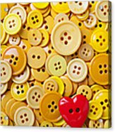 Red Heart And Yellow Buttons Acrylic Print