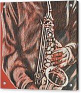 Red Hot Sax Acrylic Print