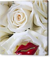 Red Lips And White Roses Acrylic Print