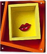 Red Lips In Yellow Box Acrylic Print
