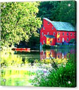 Red Mill On The Lake Acrylic Print by Artistic Photos