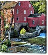 Red Mill On The Water Acrylic Print