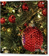 Red On A Green Christmas Tree Acrylic Print