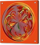 Red Orange Orchid Orb Acrylic Print