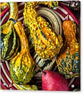 Red Pear And Gourds Acrylic Print