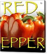 Red Peppers On White And Black Acrylic Print