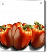 Red Peppers On White Acrylic Print