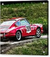 Red Porsche Running Away Acrylic Print