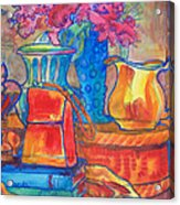 Red Purse And Blue Line Acrylic Print by Blenda Studio