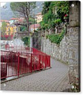 Red Rail Walkway To Varenna Along Lake Como Acrylic Print