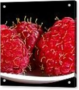 Red Raspberries On A White Spoon Against Black No.0102 Acrylic Print