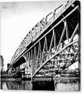 Red River Bridge Black And White Acrylic Print